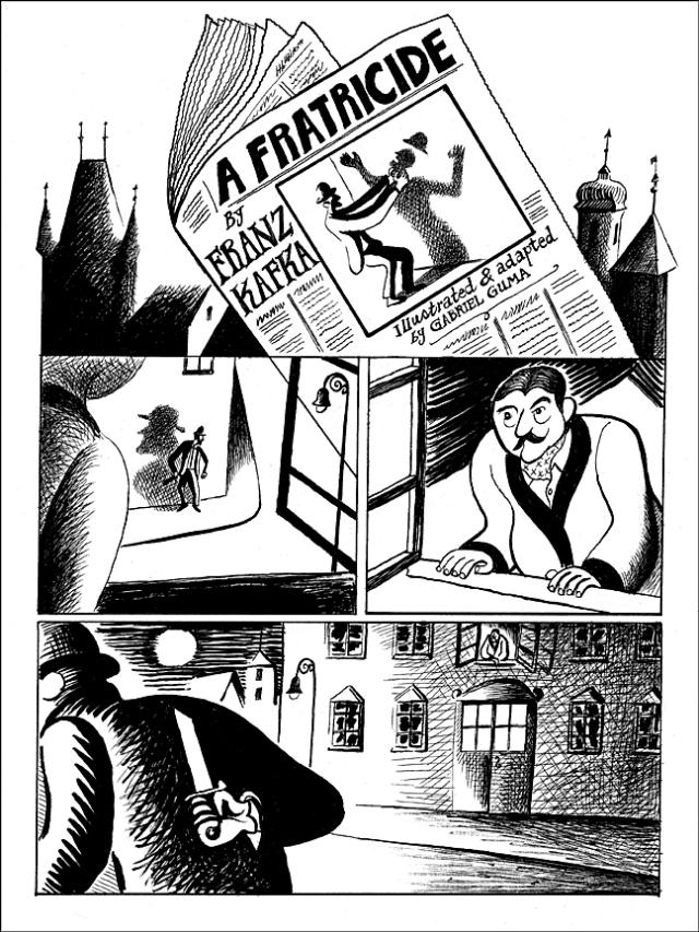 "Comics adaptation of ""A Fratricide"", a short story by Franz Kafka."